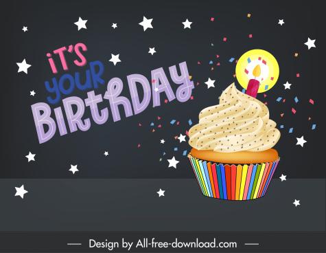 birthday card background dark colorful stars cupcake decor