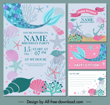birthday card backgrounds marine creatures decor