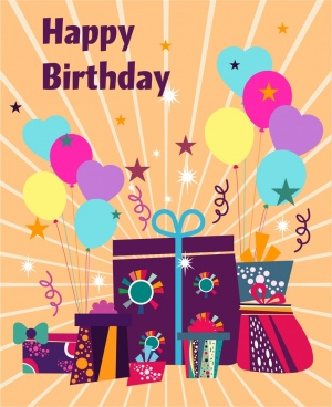 birthday card cover background eventful style giftboxes icons
