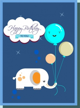 birthday card cover template cartoon elephant balloons decoration
