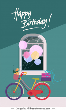birthday card cover template classical window balloon bicycle