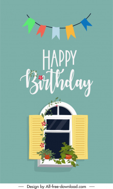 birthday card cover template classical window ribbon decor