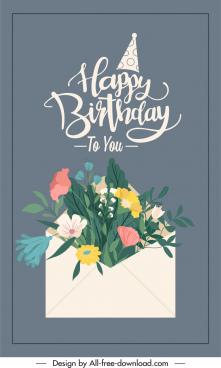 birthday card cover template flowers envelope decor