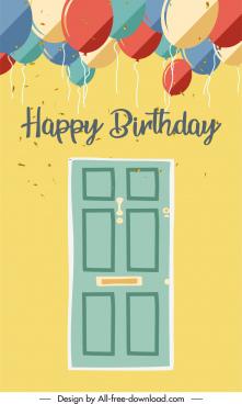 birthday card cover template retro door balloon decor