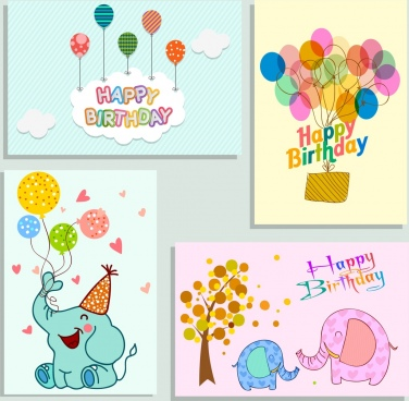 birthday card cover templates balloon elephant icons decor