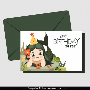 birthday card template baby mermaid sketch cartoon design