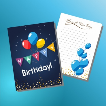 Birthday Card Template Colorful Ribbon Balloons Ornament