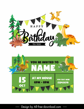 birthday card template cute dinosaur icons cartoon sketch