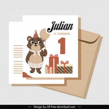 birthday card template cute stylized bear gifts decor