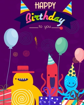 Birthday Card Template Cute Stylized Cartoon Characters