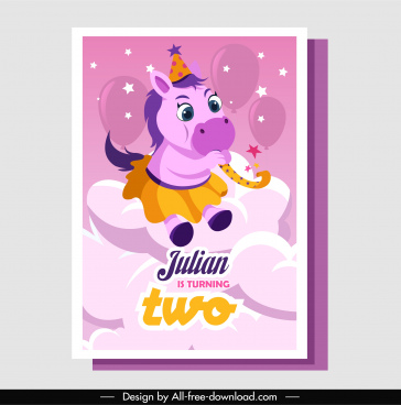 birthday card template cute stylized horse decor