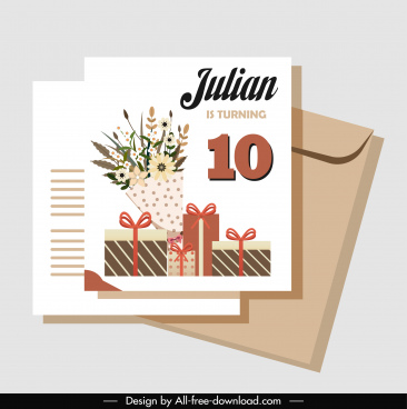 birthday card template elegant bouquet gift boxes decor