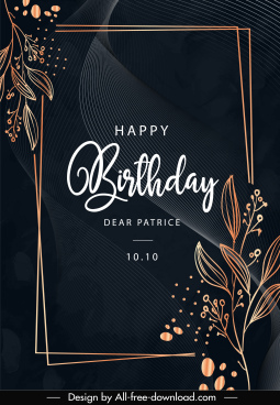 birthday card template elegant dark design handdrawn floras