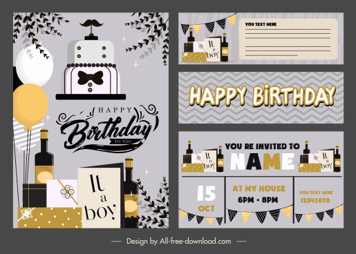 birthday card template elegant dark flat decorative elements