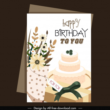 birthday card template elegant floras cream cake decor