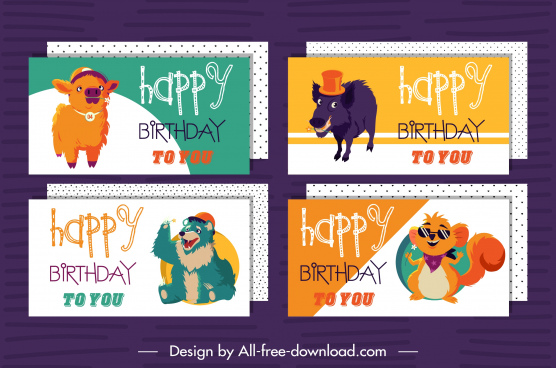 birthday card templates calf wolf bear mouse sketch