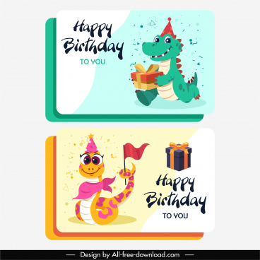 birthday card templates cute alligator snake sketch