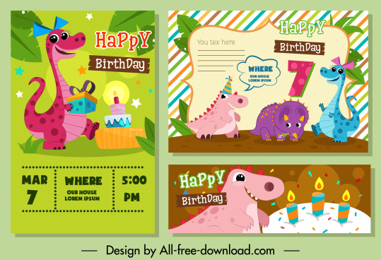 birthday card templates cute stylized dinosaurs icons decor