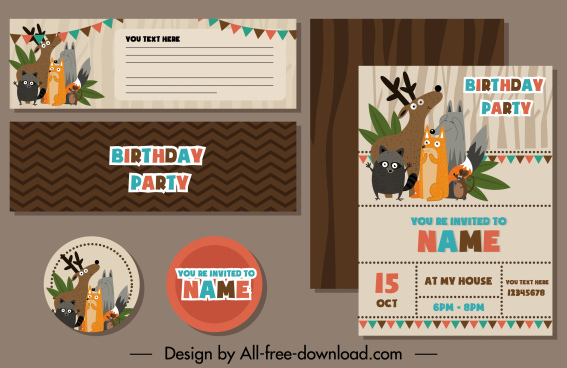 birthday card templates cute wild animals cartoon design