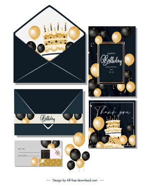 birthday card templates elegant black golden balloons decor