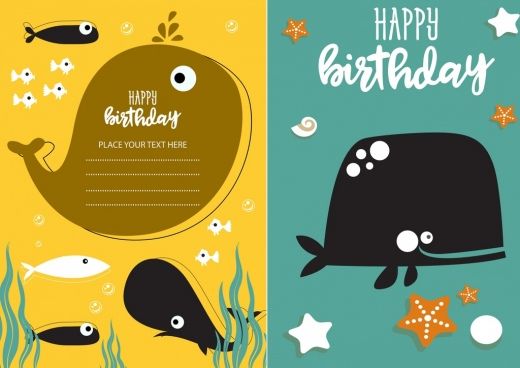 birthday card templates whale fish icons decor