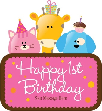 birthday banner cute animal icons texts board decor