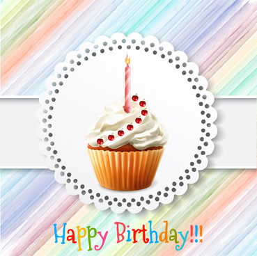 birthday card vector design with cupcake illustration