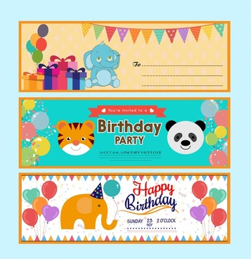 birthday card vector illustration with cute cartoon animals