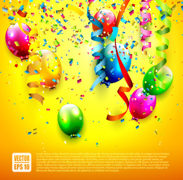 birthday colored balloons with colorful ribbon background vector
