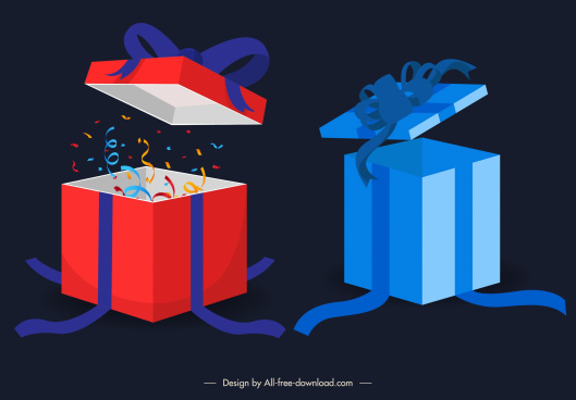 birthday decor elements 3d dynamic gift boxes sketch