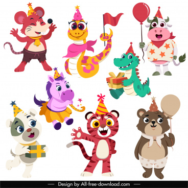 birthday decor icons cute stylized animals cartoon characters