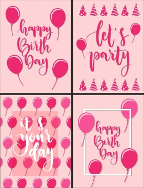 birthday decorative banner pink design balloons calligraphic decor
