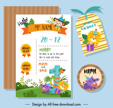 birthday design elements colorful cute animals decor