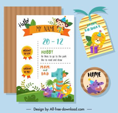 birthday design elements colorful cute animals decor