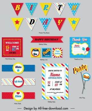 birthday design elements colorful flat shapes decor
