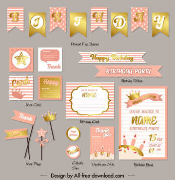 birthday design elements elegant golden pink shapes decor