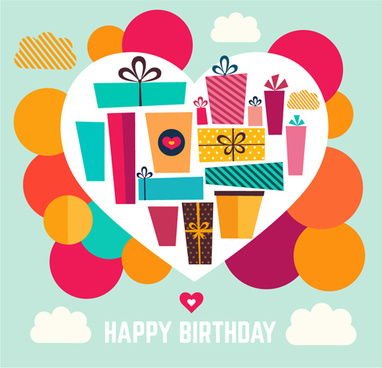 birthday gift with heart background vector