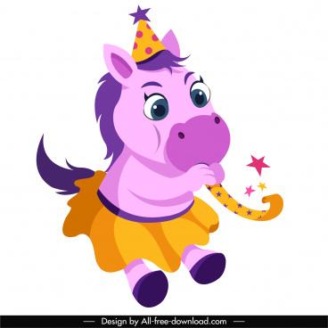 birthday icon cute stylized horse sketch
