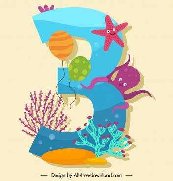 birthday number template colorful cute marine species decor