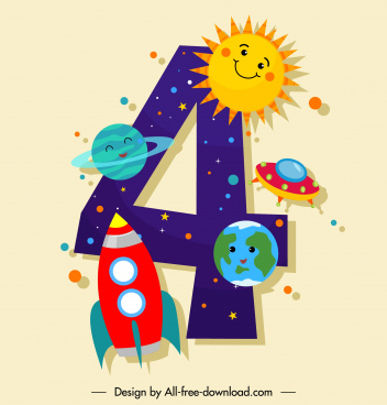 birthday number template colorful stylized cosmos elements decor