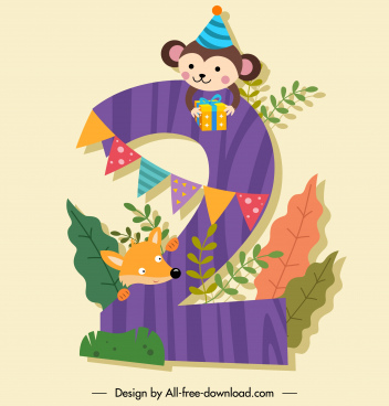 birthday number template lovely monkey fox colorful decor