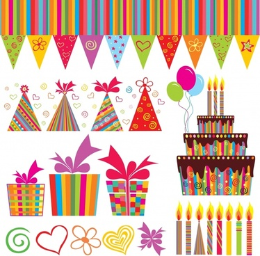 birthday design elements colorful flat symbols sketch