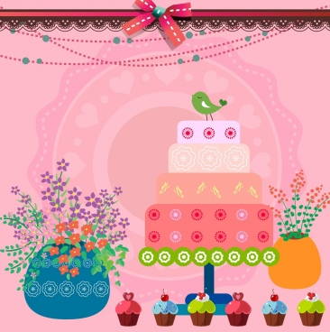 birthday party background pink backdrop cream cakes icons