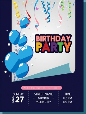 birthday party banner balloons ribbons curled sheet ornament