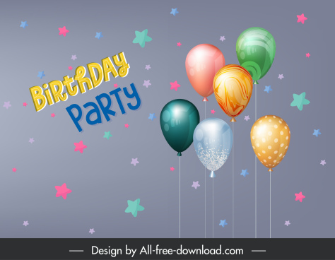 birthday party banner template modern colorful balloons decor