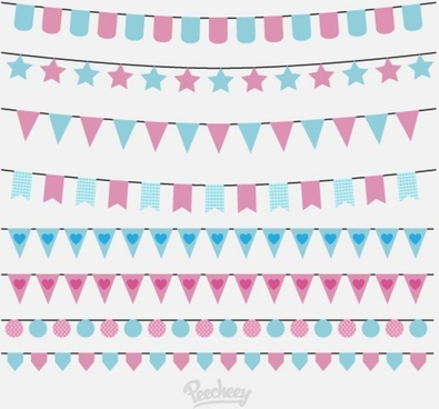 birthday party flags set