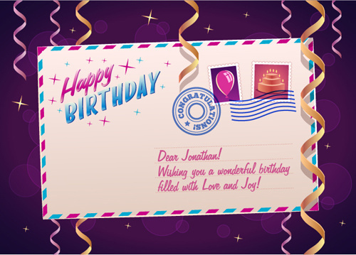 birthday postcard with paper tapes vector