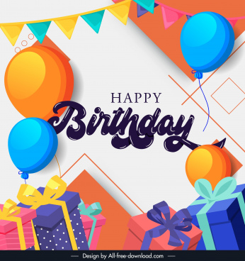 birthday poster template colorful balloon ribbon presents decor