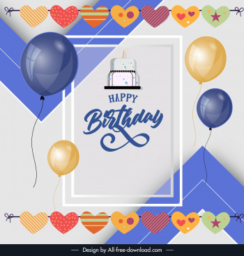 birthday poster template colorful elegant balloon hearts decor