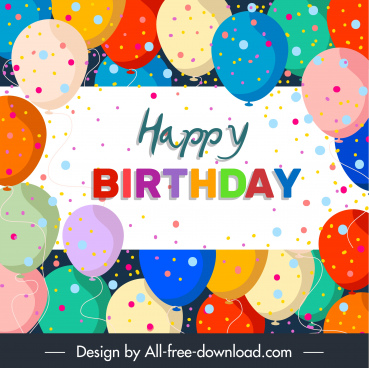 birthday poster template colorful flat balloons confetti decor
